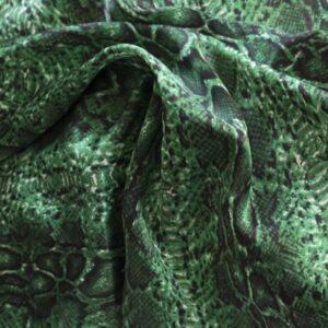 Charmeuse bedruckt Schlange grün