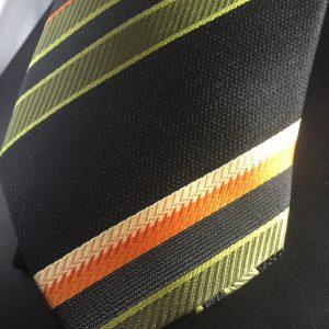 Seidenkrawatte Streifen oliv-orange