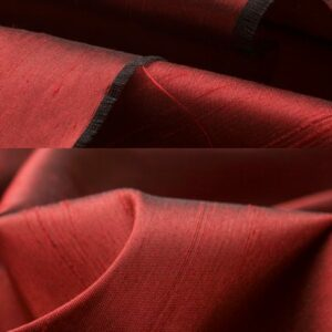 Seidenstoff changeant rot/schwarz