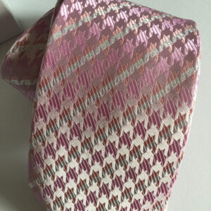 Seidenkrawatte Hahnentritt-Karo rosa