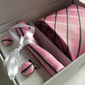 Seidenkrawatte Karo rosa