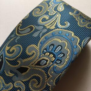 Seidenkrawatte Ornamente himmelblau