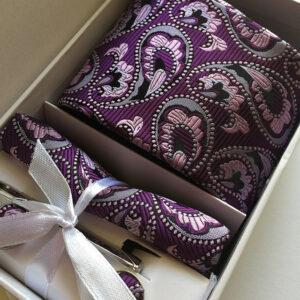 Seidenkrawatte Paisley Streifen lila
