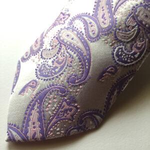 Seidenkrawatte Paisley silber lila