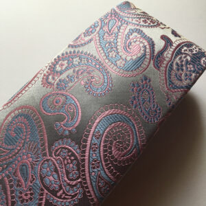 Seidenkrawatte Paisley silber pink blau