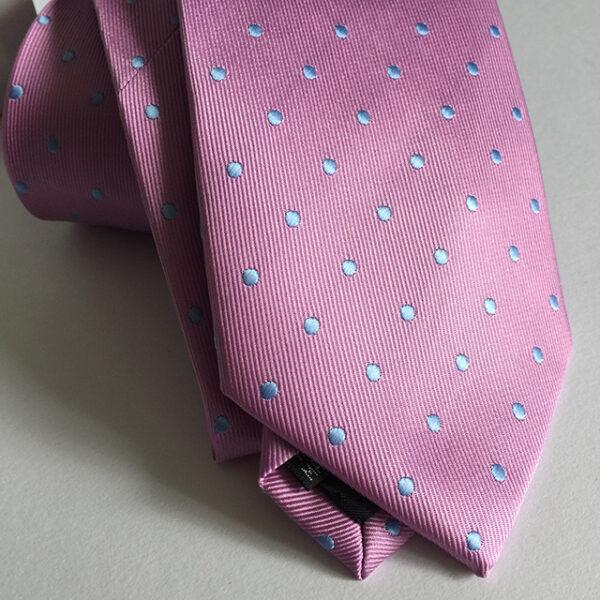 Seidenkrawatte Punkte rosa