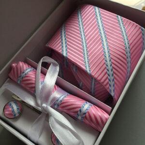Seidenkrawatte Streifen Ornamente rosa