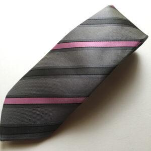 Seidenkrawatte Streifen grau rosa